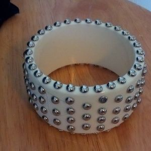Jewelry - White and silver studded cuff bracelet